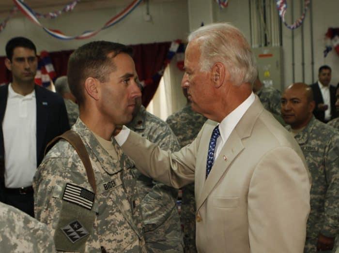 U.S. Vice President Joe Biden talks with his son Beau in 2009