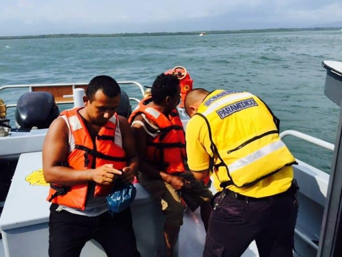 Emergency personnel conduct patrols in the Nicoya Gulf.