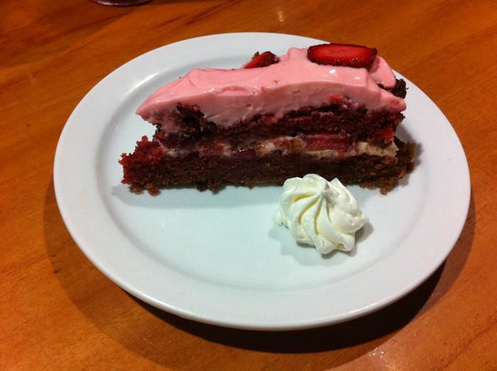 Red velvet cake for dessert.