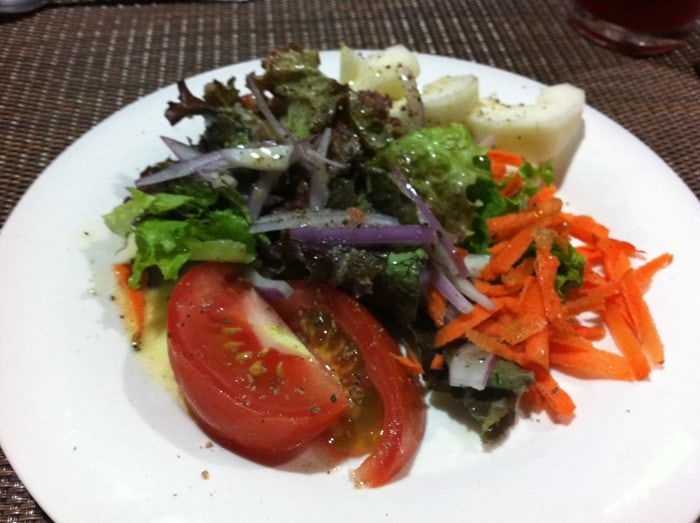 Salad is served.