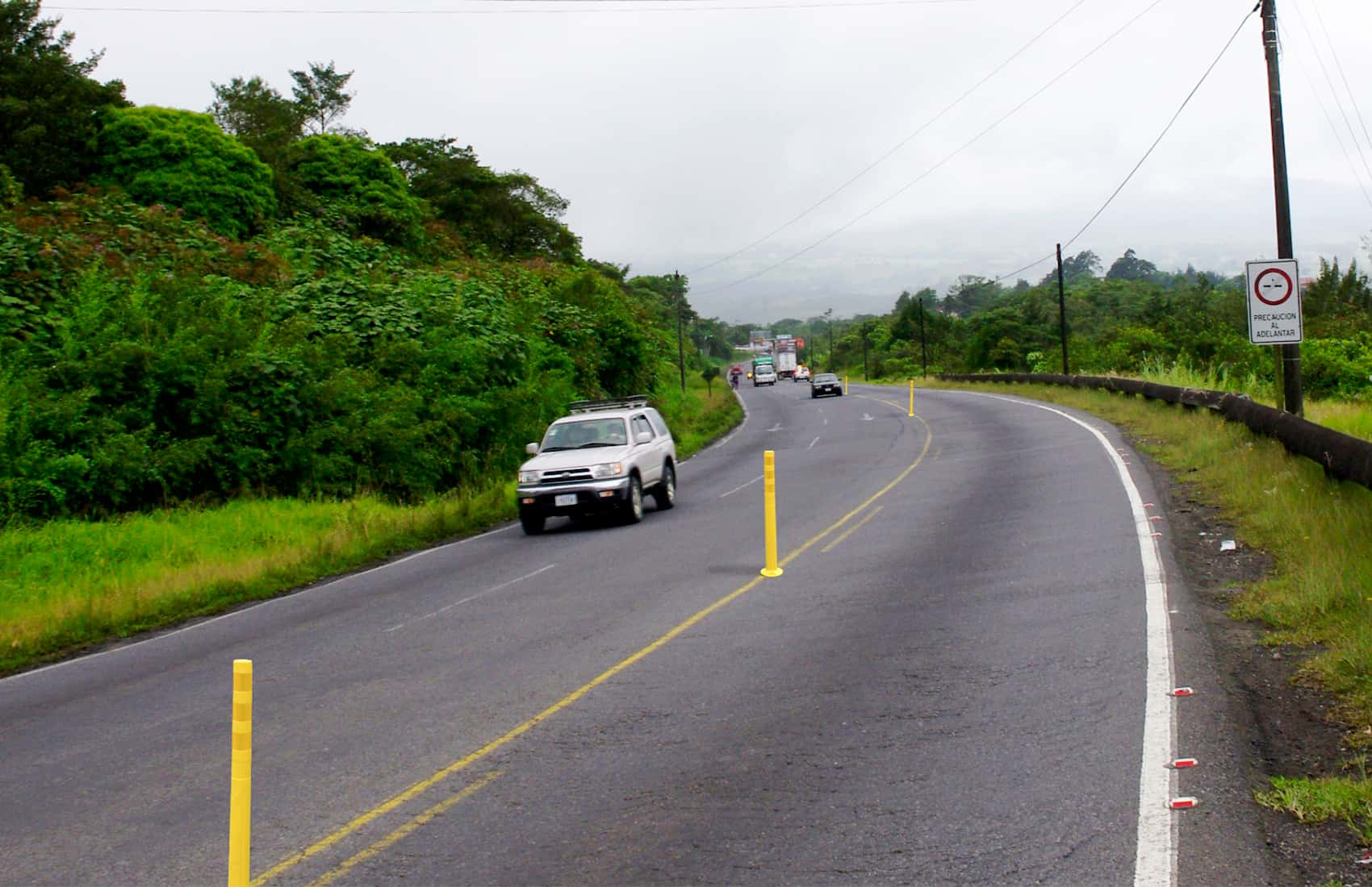 Workers will install plastic poles to divide lanes and discourage illegal passing.