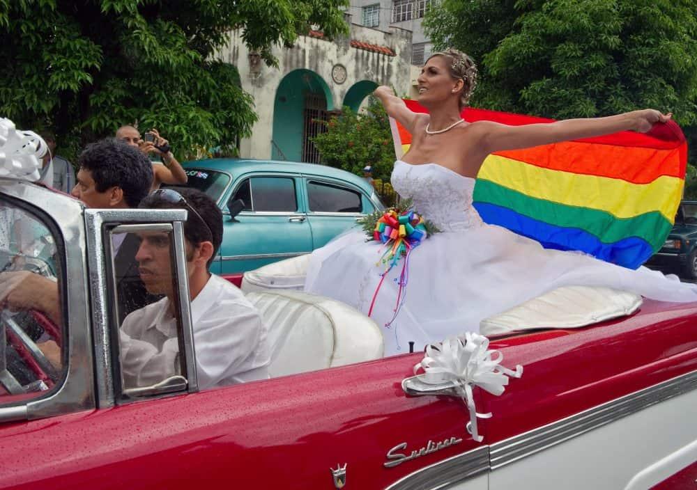 Transgender Cuban Wendy Iriepa arrives for her wedding on Aug. 13, 2011, in Havana.