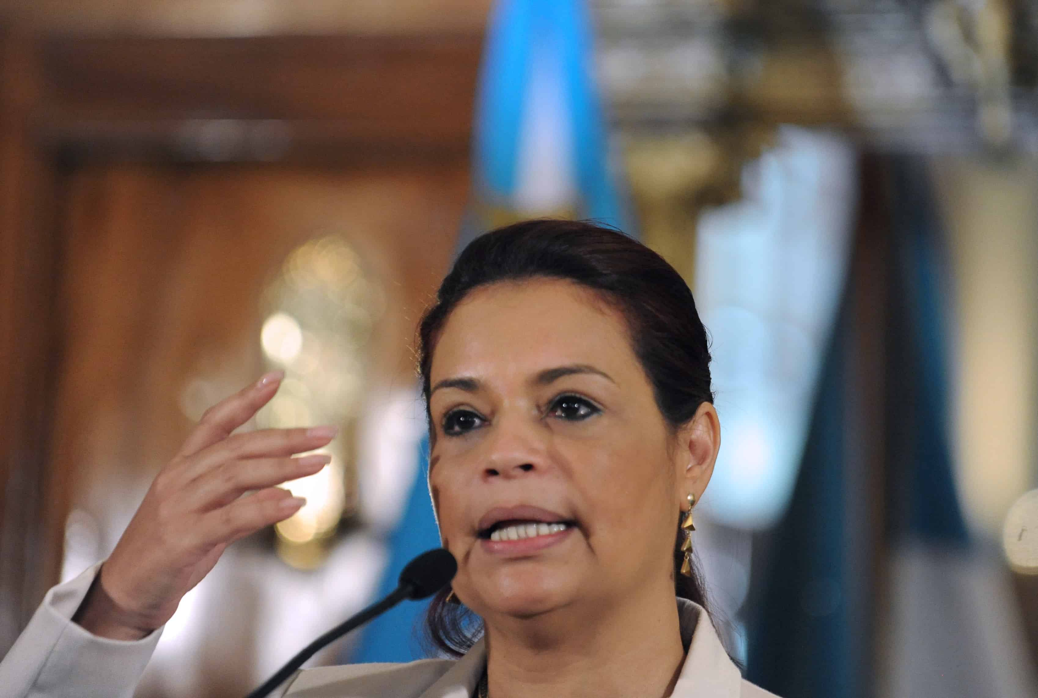 Guatemala's Vice President Roxana Baldetti offers a press conference at the presidential residence in Guatemala City on April 19, 2015. Baldetti resigned on May 8, 2015 amid a tax corruption scandal, in which her former private secretary Juan Carlos Monzón was allegedly involved.