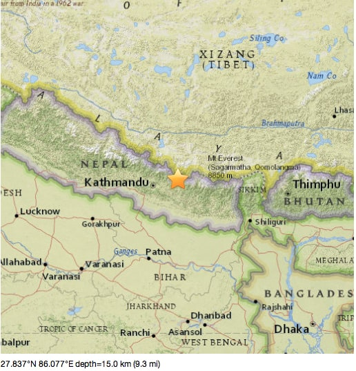 USGS map of Tuesday earthquake in Nepal.