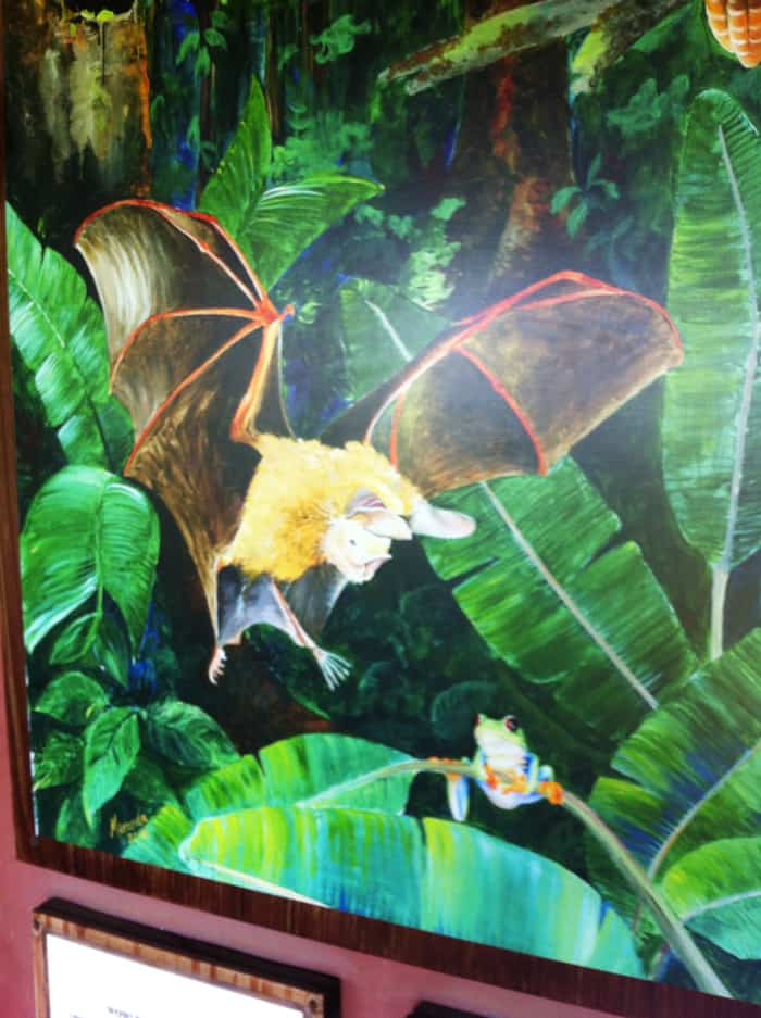 A painting shows a bat about to pounce on a frog.
