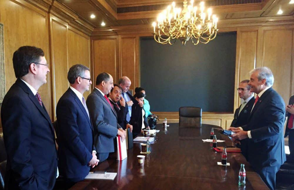 Business sector leaders, Foreign Trade and Foreign Ministry officials on Monday May 18, 2015, join President Luis Guillermo Solís in a meeting with entrepreneurs from Atlanta, Georgia.