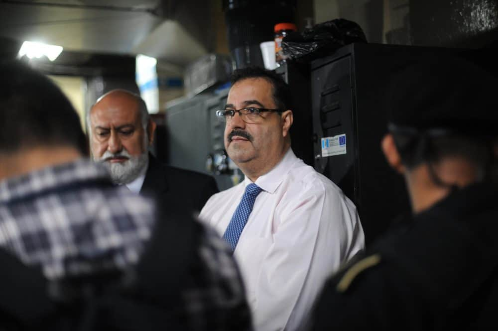 Julio Suárez, president of the Bank of Guatemala and vice president of the Social Security board appears in court to face charges of fraud in Guatemala City on May 20, 2015. The members of the board of the Bank of Guatemala and of the Guatemalan Institute of Social Security (IGSS) were arrested on Wednesday accused of a $14.5 million fraud.