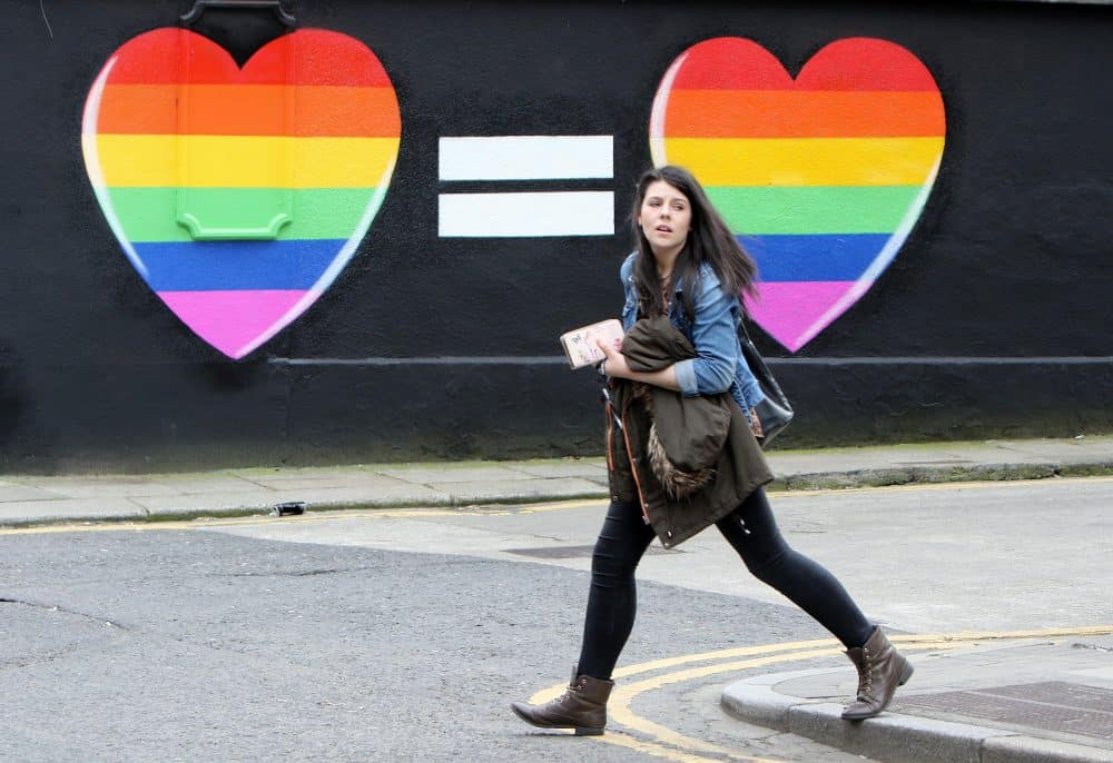 Gay marriage mural in Dublin.