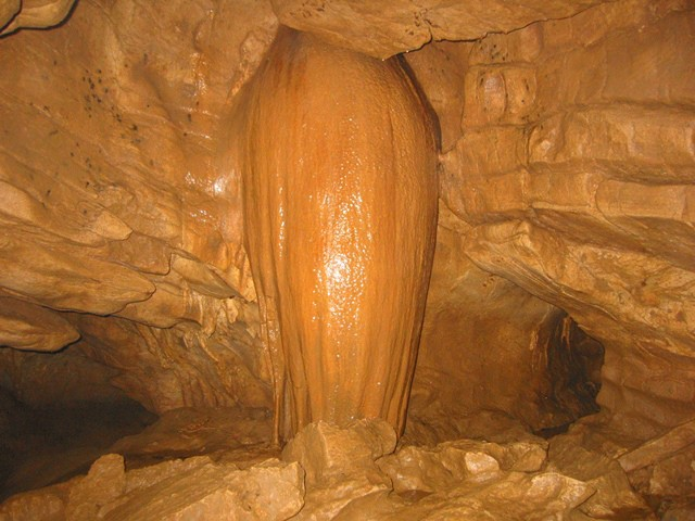 The Papaya, where a stalactite and stalagmite meet to form a column.