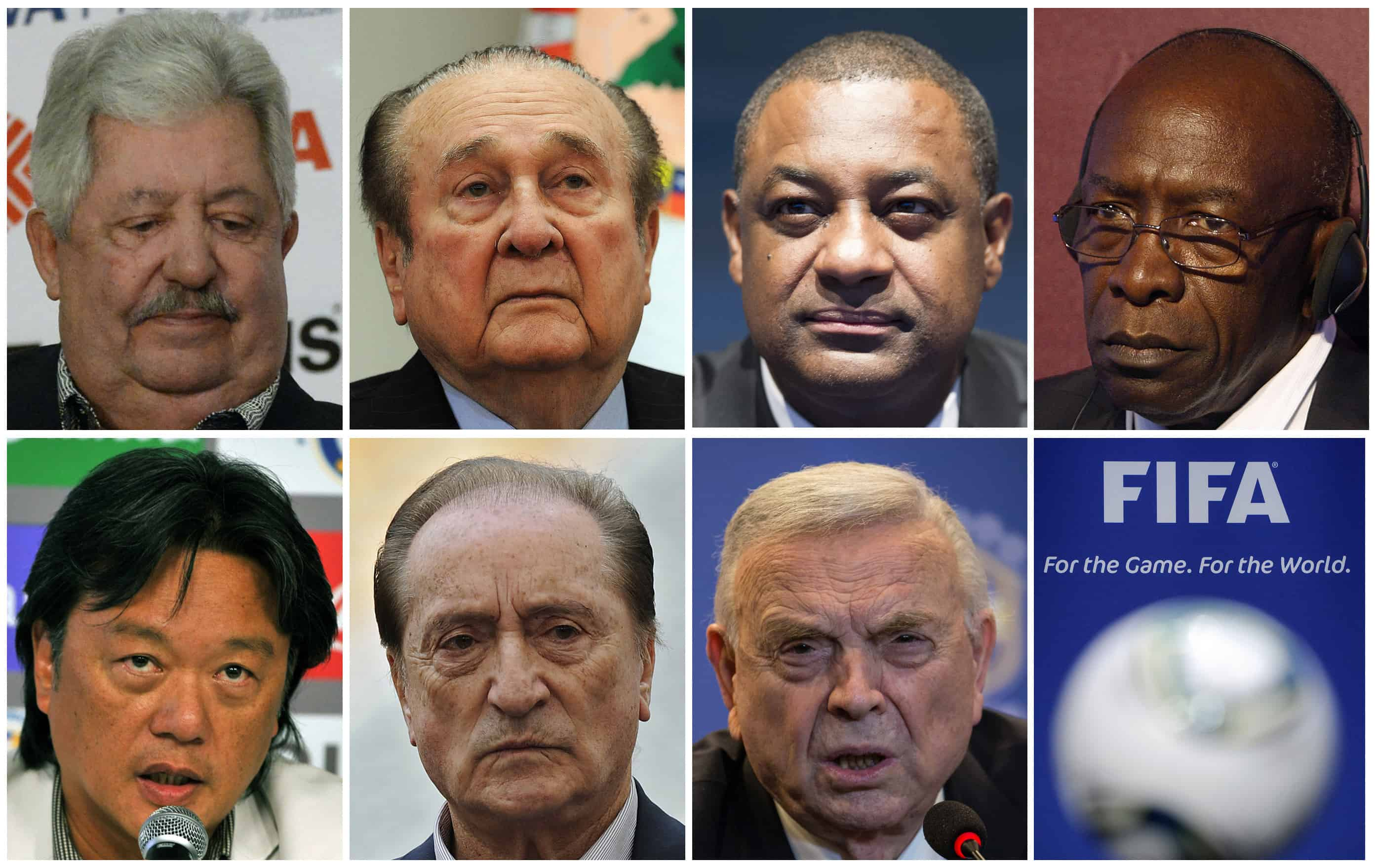 A combination of file pictures made on May 27, 2015 shows FIFA officials.