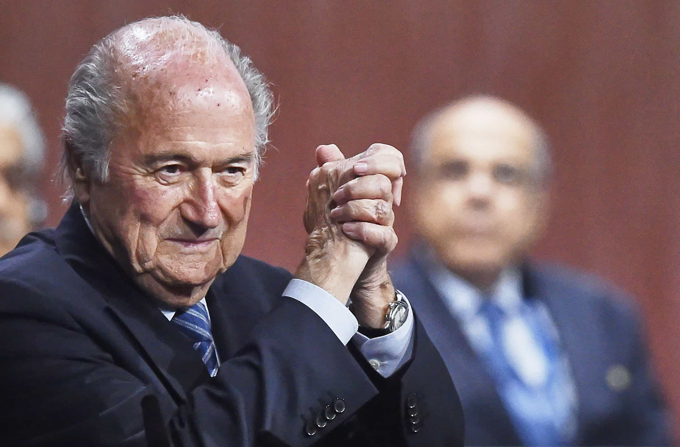 FIFA President Sepp Blatter gestures after being re-elected.