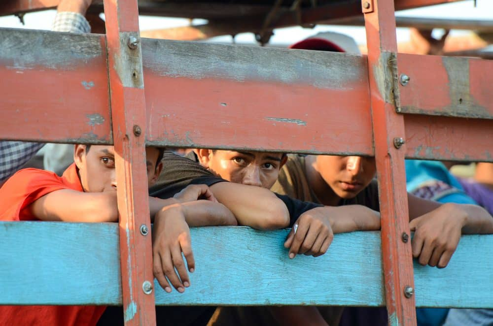 Nicaraguan migrants arrives at the Costa Rican migration offices in Los Chiles. After processing, the migrants will be sent back to Nicaragua. April 28, 2015