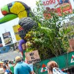 """No to captivity"" and ""No to hunting"" says a float that had a fake toucan with its peak cut."