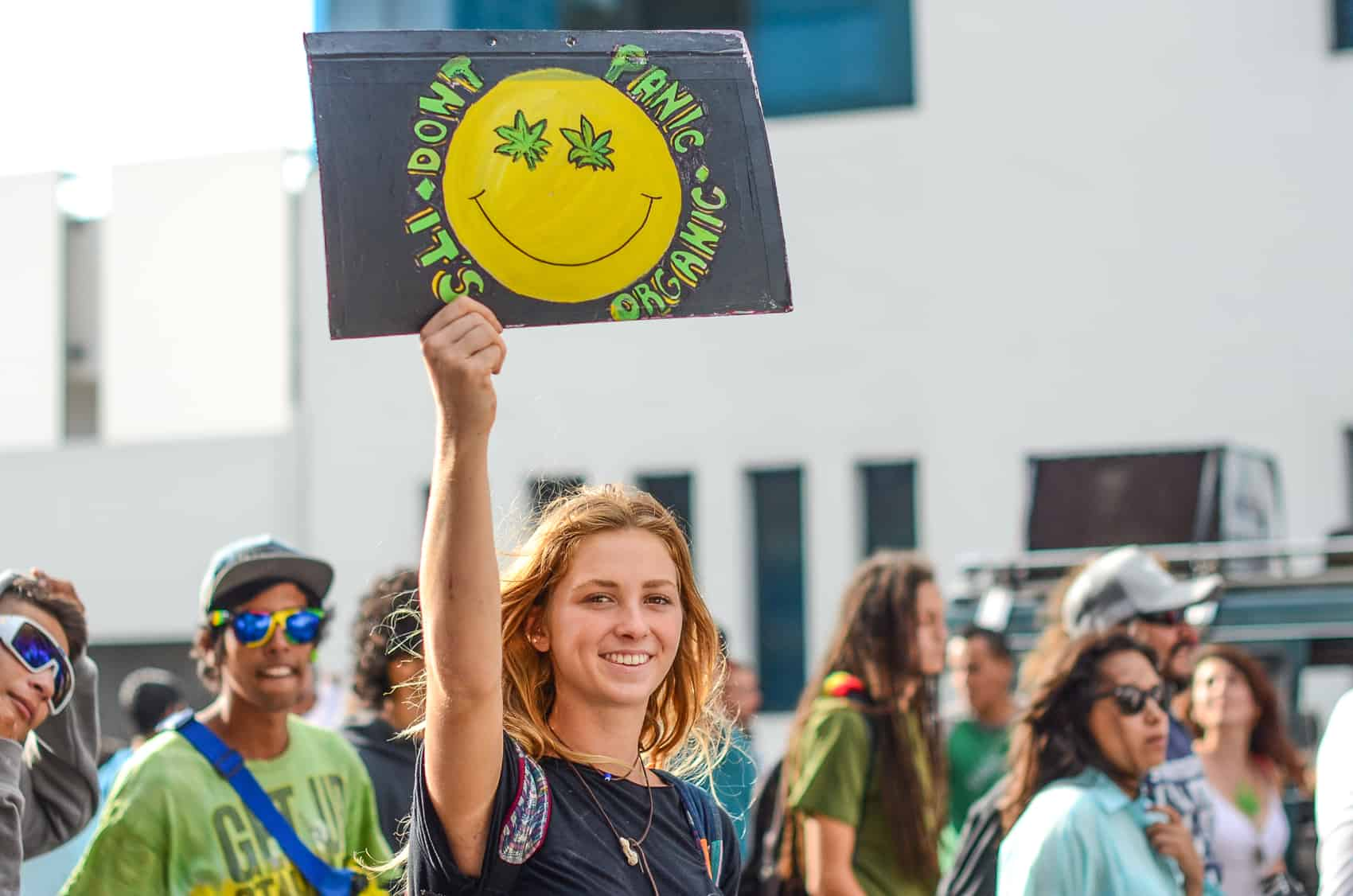 Photo Essay Marijuana Legalization March In Costa Rica  The Tico  Dont Panic Its Organic Reads A Sign By A Marijuana Legalization
