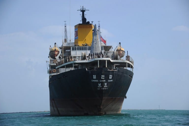 North Korean cargo vessel Chong Chon Gang at anchor in front of the Sherman Base near Colón, 120 km from Panama City, last year.
