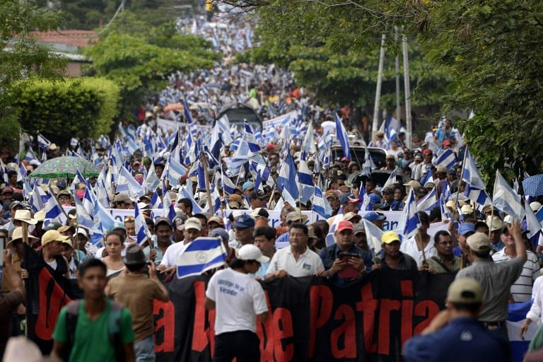 Thousands march against the construction of an inter-oceanic canal in Juigalpa, Nicaragua on June 13.