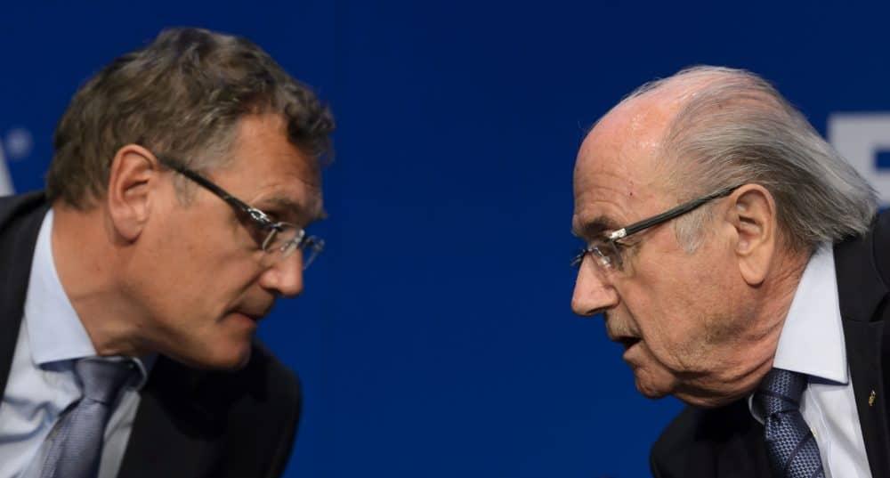 FIFA President Sepp Blatter, right, speaks with FIFA Secretary General Jerome Valcke.