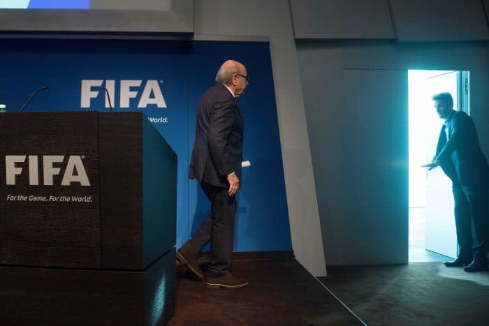 FIFA President Sepp Blatter leaves after a press conference.