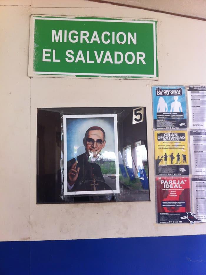 The murdered Archbishop Oscar Romero welcomes us to El Salvador.