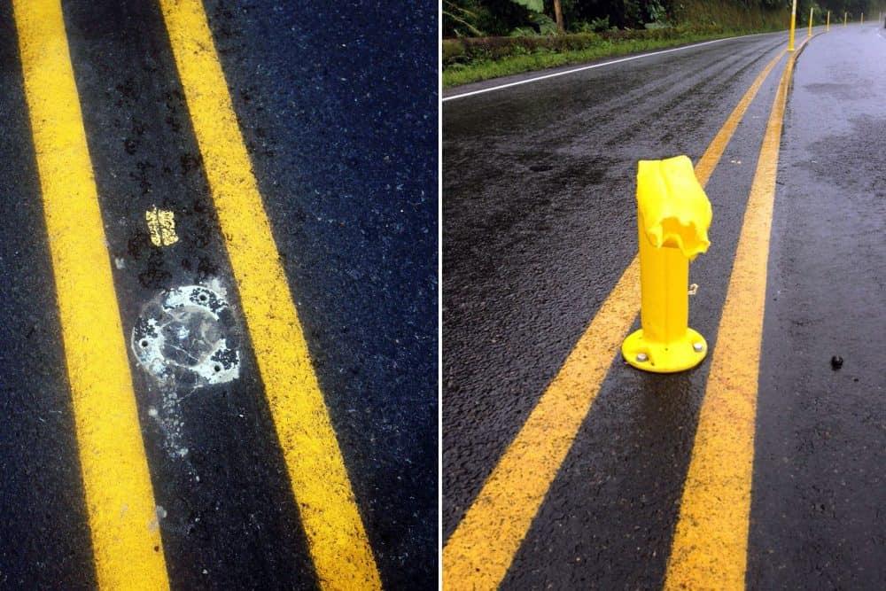 Lane dividers vandalized on Route 32, June 2015