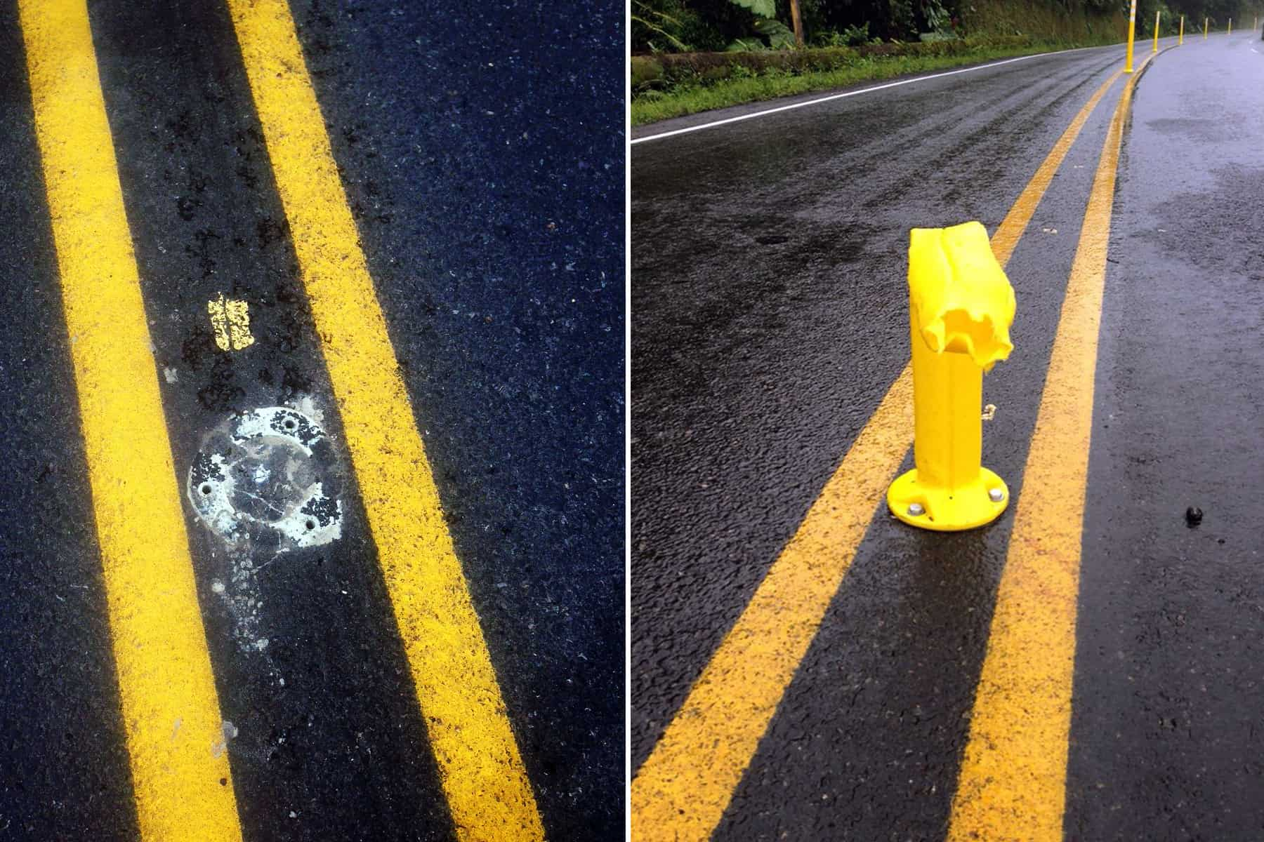 Lane dividers vandalized on Route 32, June 2015