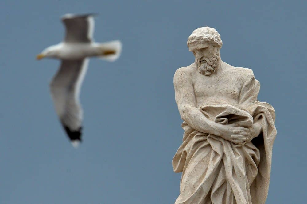 A seagull flies past a statue at St. Peter's Square.