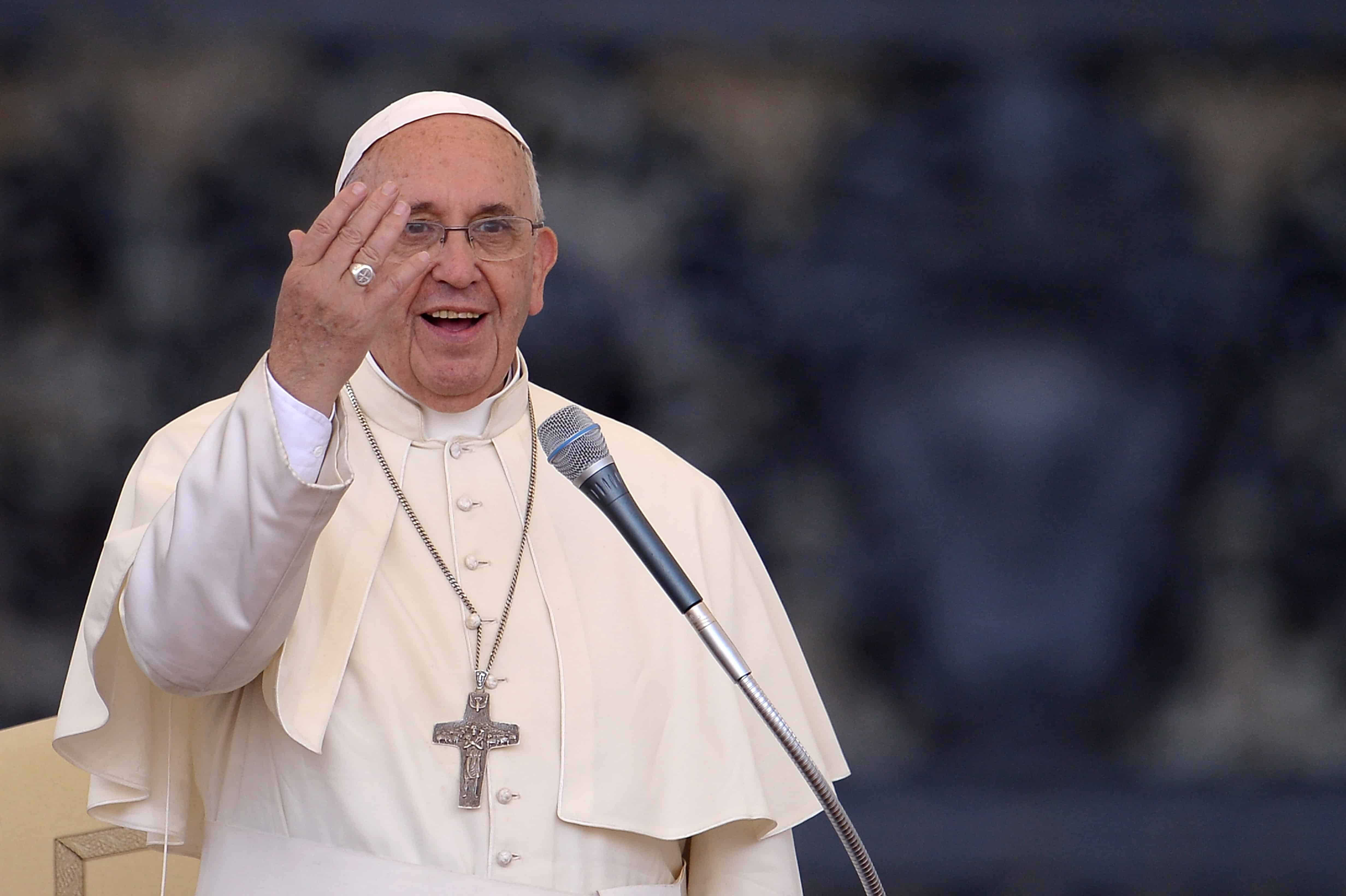 Pope Francis addresses participants at the Convention of Rome Diocese at St. Peter's Square on June 14, 2015 at the Vatican.