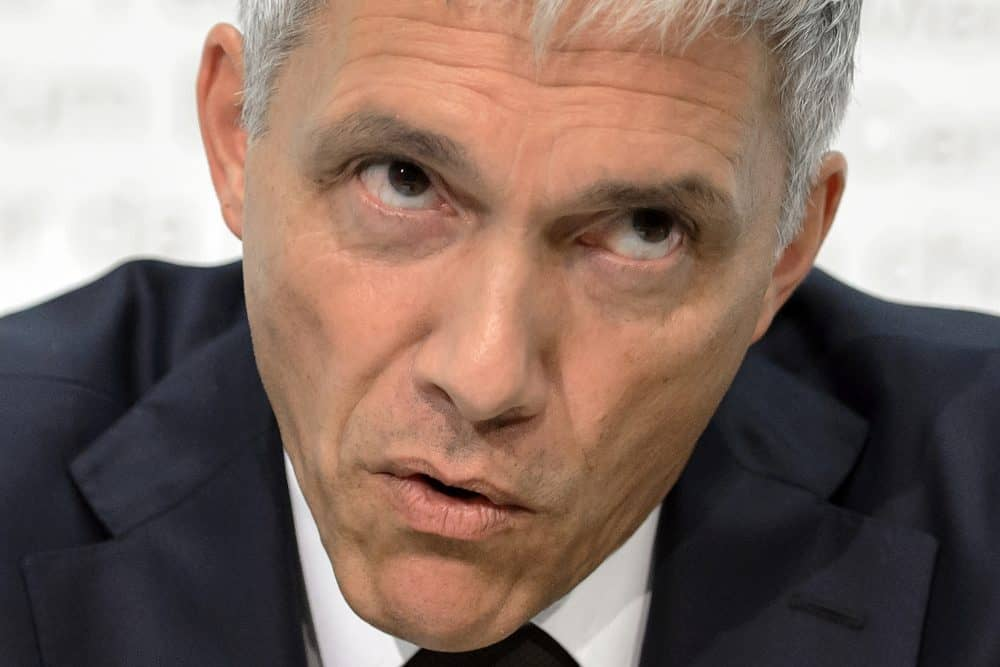 Swiss Attorney General Michael Lauber attends a press conference on June 17, 2015 in Bern.