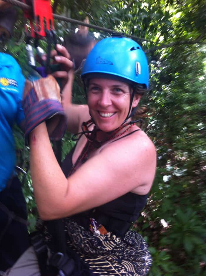 Shana Stratton, 37, of Smartsville, California, survives her first Costa Rican zipline.
