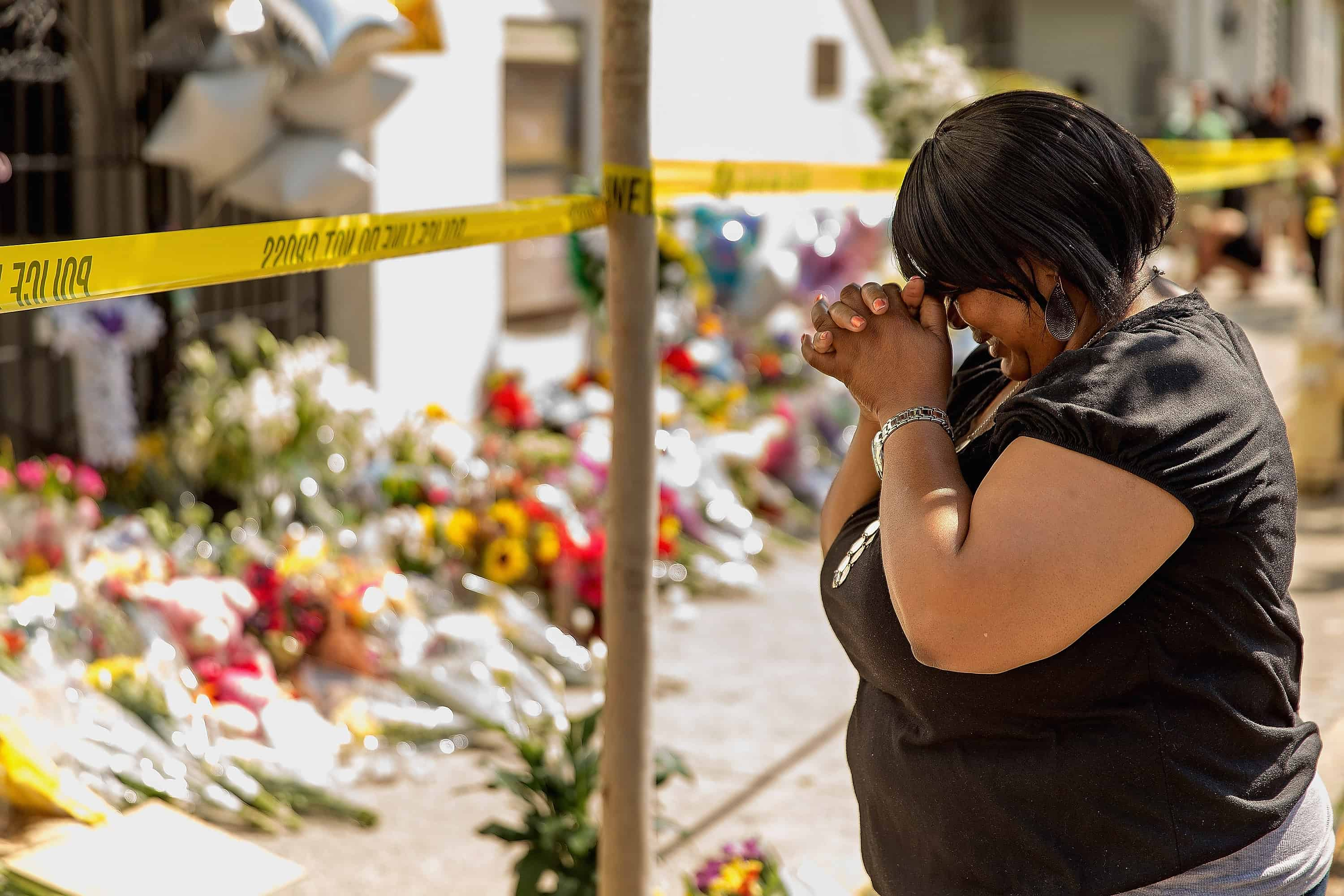A woman weeps outside the historic Emanuel African Methodist Episcopal Church.