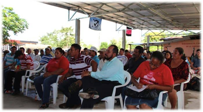 A coalition of campesino organizations meet in Bajo Aguán, Honduras, in 2013.