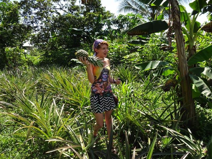 Katelynn Stratton of Smartsville, California, hoists a pineapple she just harvested.