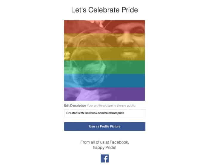 Pride screenshot from Facebook.
