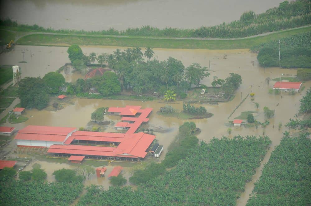 Aerial photo of flooding in Limón, Costa Rica, on June 29, 2015.