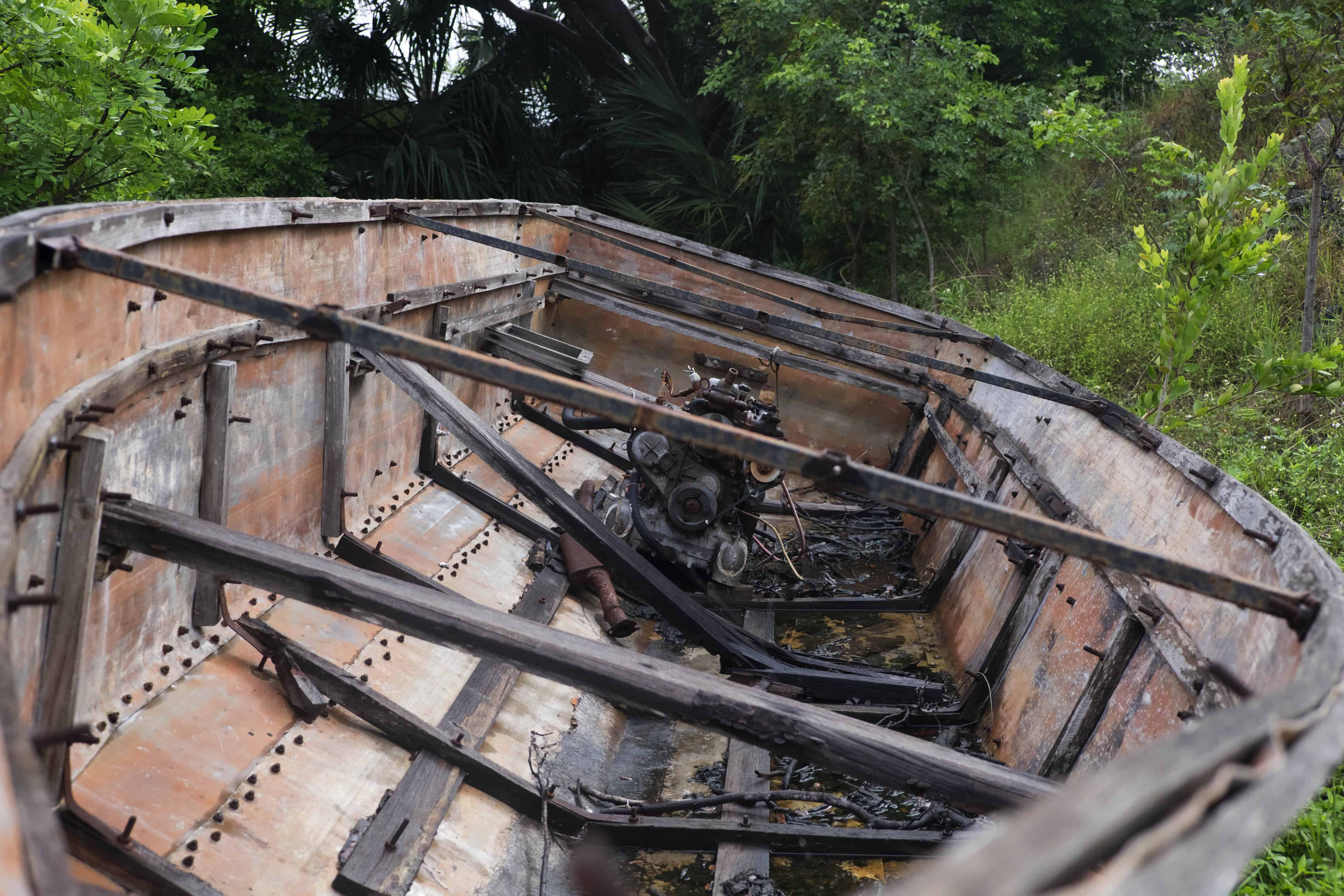A boat used by Cuban immigrants on display at the Botanical Gardens in the Florida Keys.
