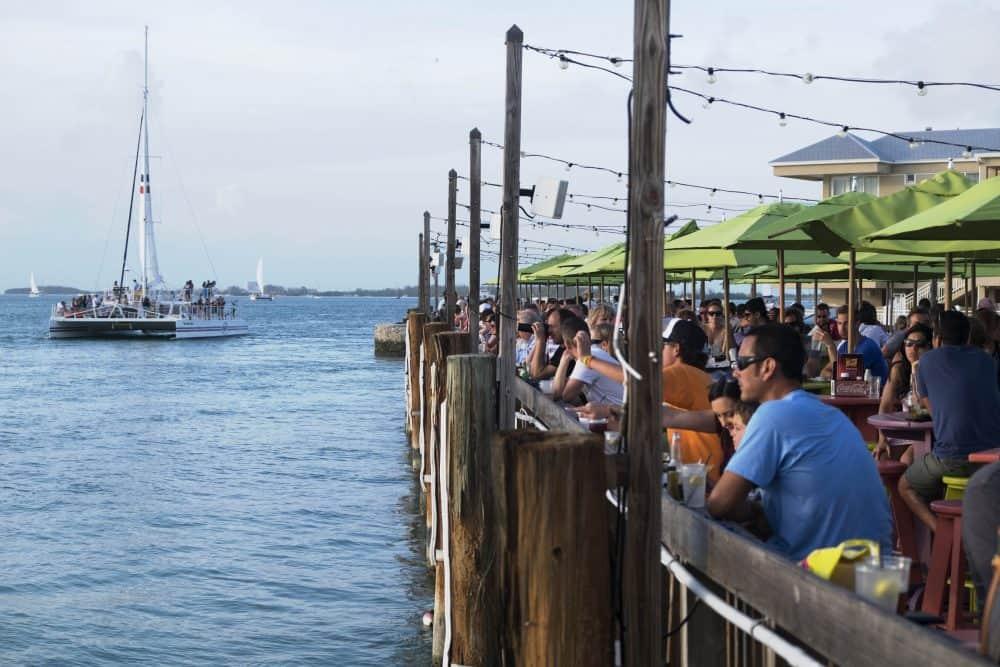 People enjoy a sunset in Key West.