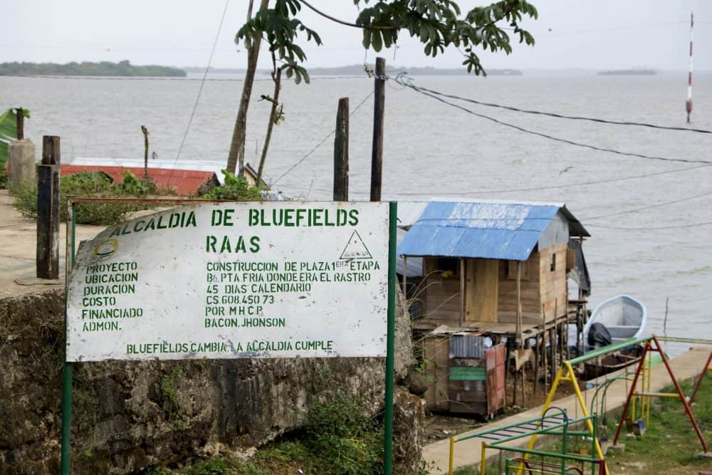 """A sign reads: """"This is the municipality of Bluefields."""""""