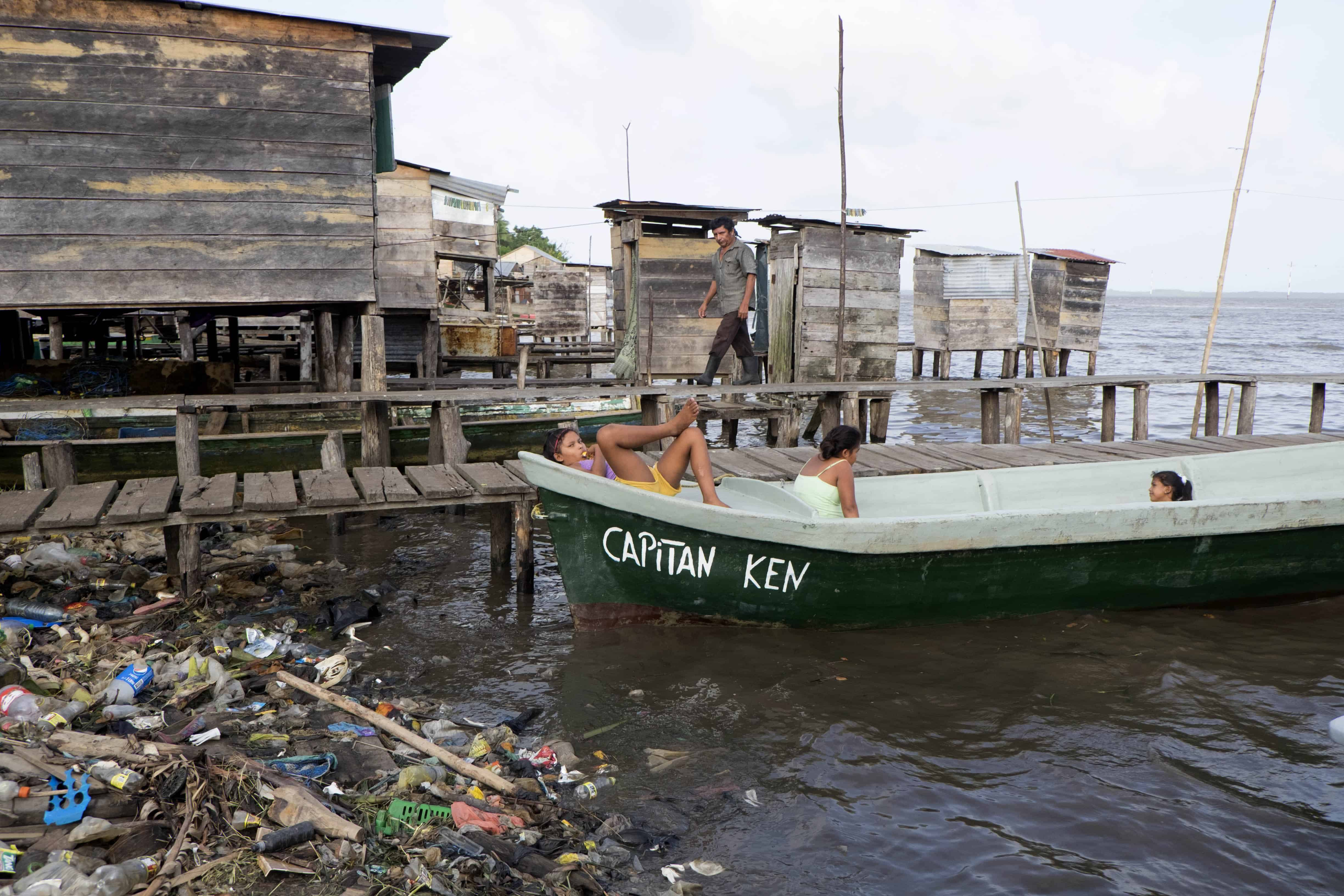 The once-thriving harbor in Bluefields, Nicaragua, is now full of slums.