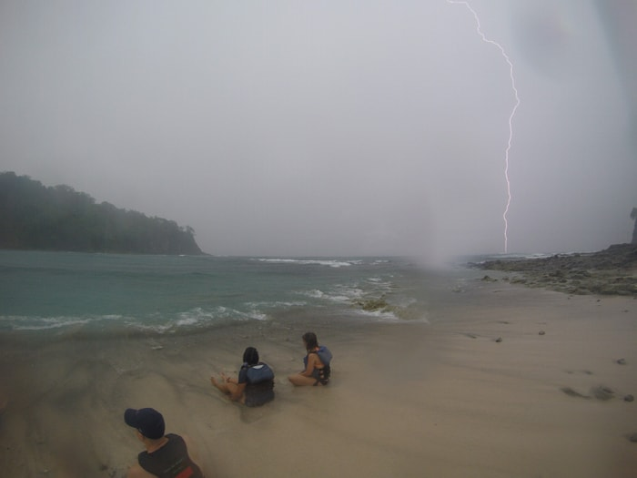 Lightning strikes the water off Isla Chora, Costa Rica.