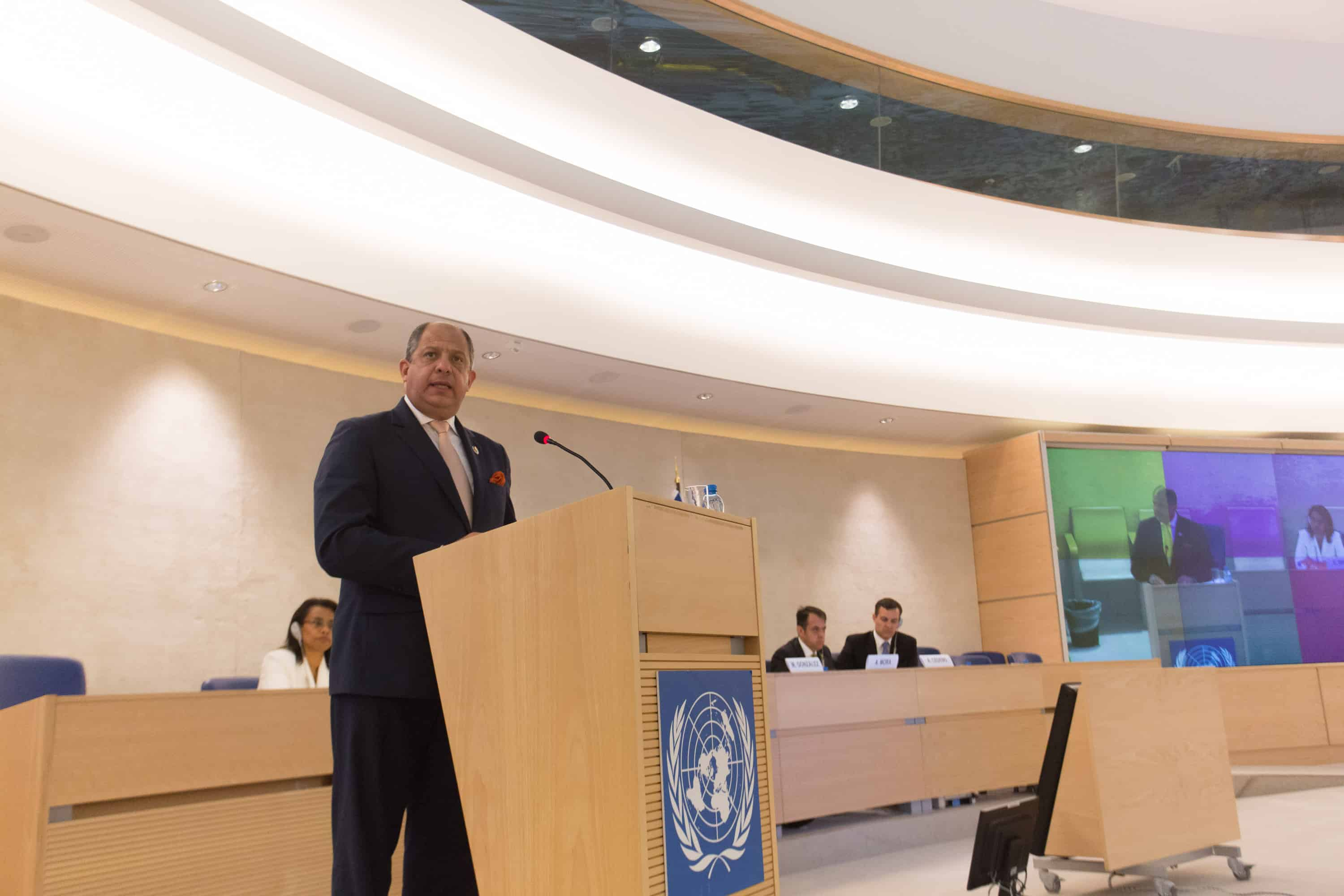 Costa Rican President Luis Guillermo Solís addresses the United Nations in Geneva.