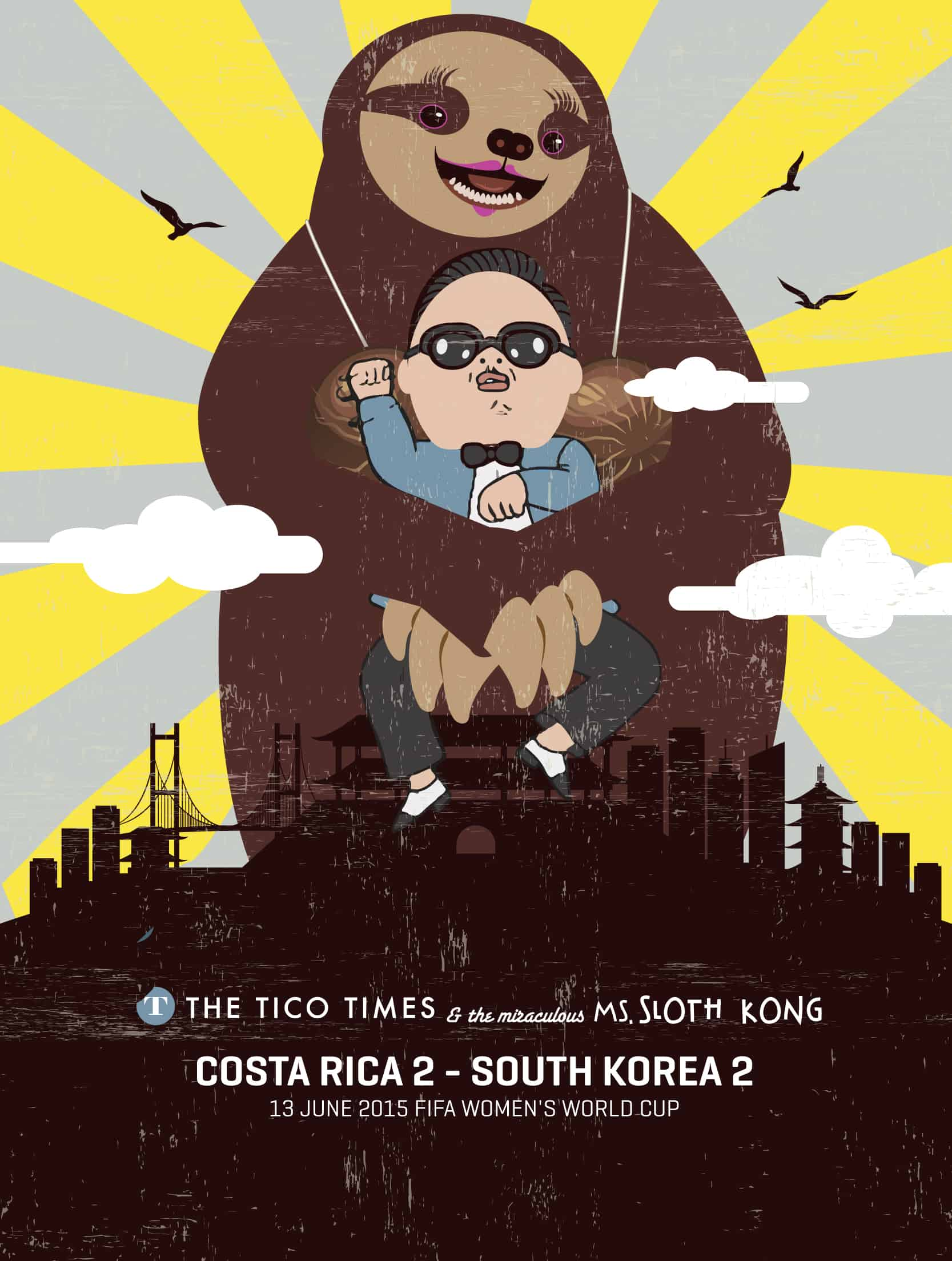Ms. Sloth Kong allegedly seized the opportunity to sloth-hug Gangnam Style performer Psy.