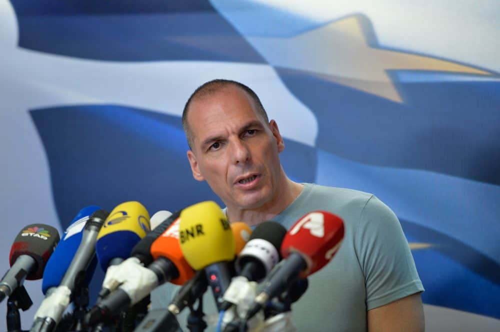 Greek Finance Minister Yanis Varoufakis gives a press conference in Athens on July 5, 2015, after early results showed those who rejected further austerity measures in a Greek crucial bailout referendum were poised to win.
