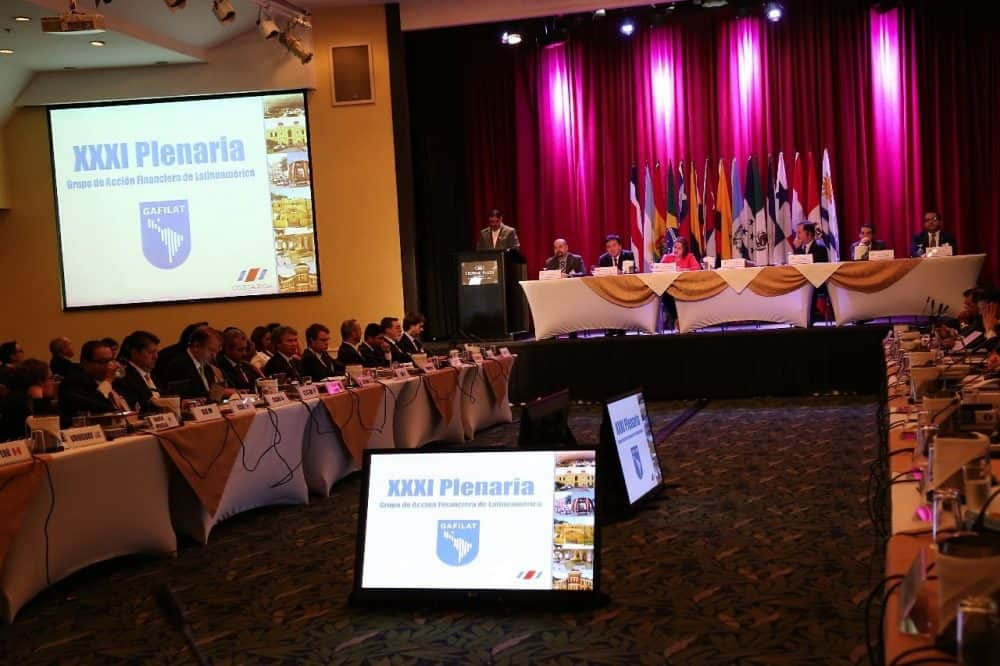 Public Security Minister Gustavo Mata addresses the the opening session of Gafilat's 31st plenary session, July 9, 2015.