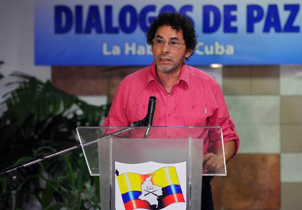 Revolutionary Armed Forces of Colombia (FARC) commander Pastor Alape reads a statement at Convention Palace in Havana during the peace talks with the Colombian government, on July 3, 2015.