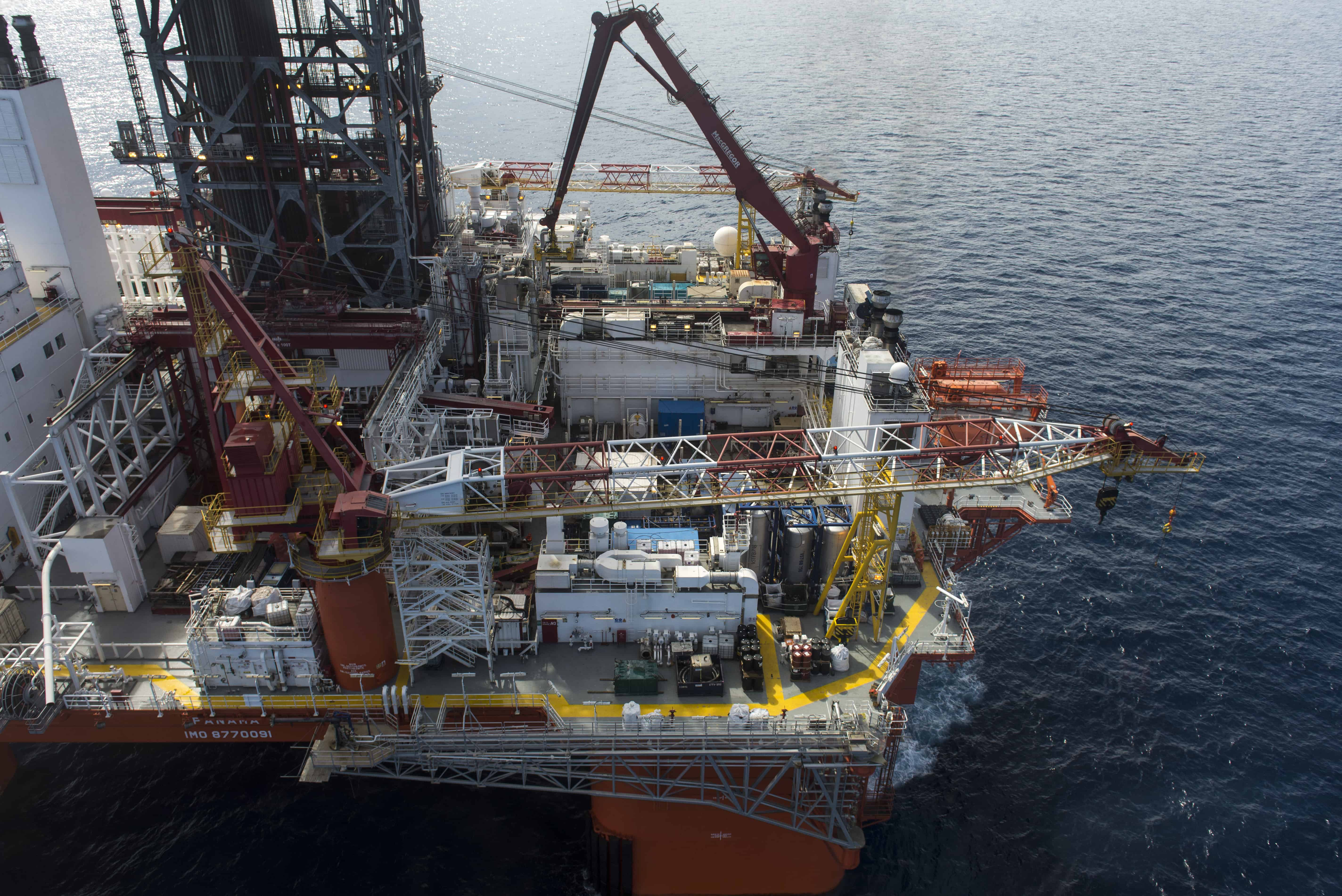 "Aerial view of La Muralla IV exploration oil rig, operated by Mexican company ""Grupo R"" and working for Mexico's state-owned oil company PEMEX, in the Gulf of Mexico on August 30, 2013. Mexico held its first oil auction for private investors in nearly 80 years on July 15, 2015."