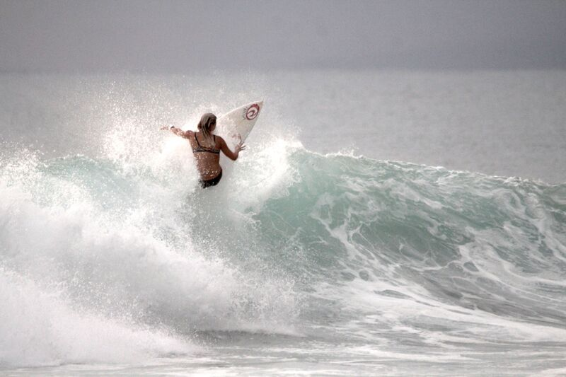 Leilani McGonagle rides a wave at Pavones.