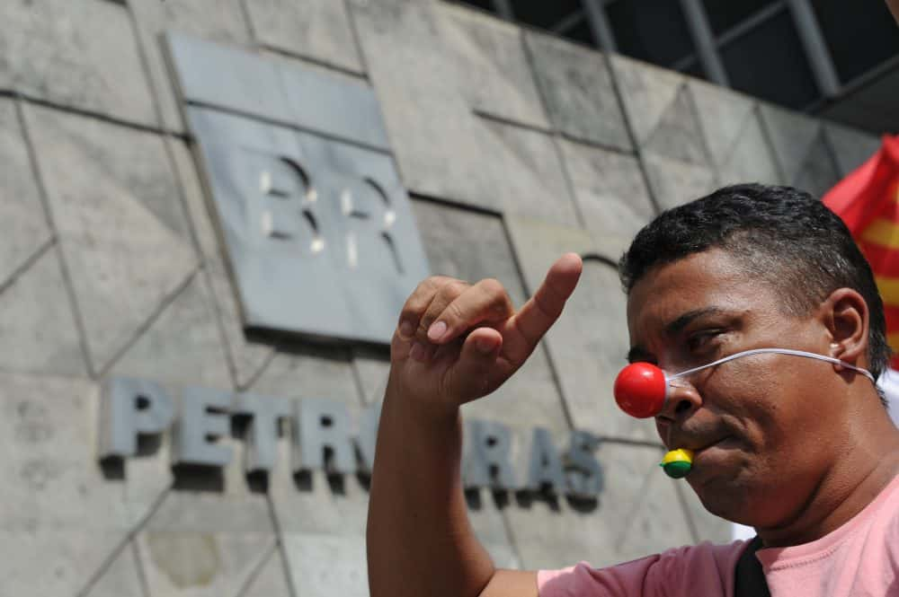 Outsourced personnel of Brazilian national oil company Petrobras protest.
