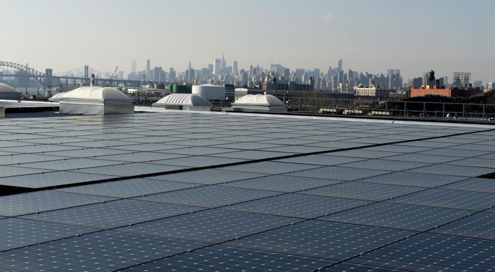 The rooftop of Jetro Restaurant Depot in the Bronx, with a view of Manhattan in the distance, is covered with solar panels.