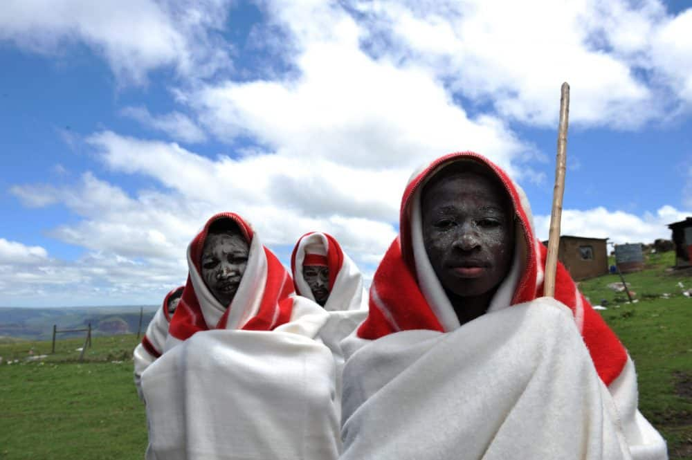 A picture taken on November 20, 2009 of young boys from the Xhosa tribe attending a traditional initiation school in Libode in the Eastern Cape province. In rural South Africa, the ethnic Xhosa boys graduate to manhood through a sacrosanct ritual of circumcision. But every year, the custom among the country's second-largest ethnic group sees young initiates die of complications from botched circumcisions by ill-trained traditional surgeons.