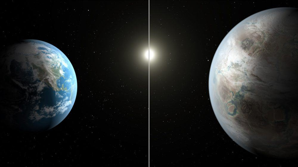This NASA artist's concept obtained July 23, 2015 compares Earth (left) to the new planet, called Kepler-452b.